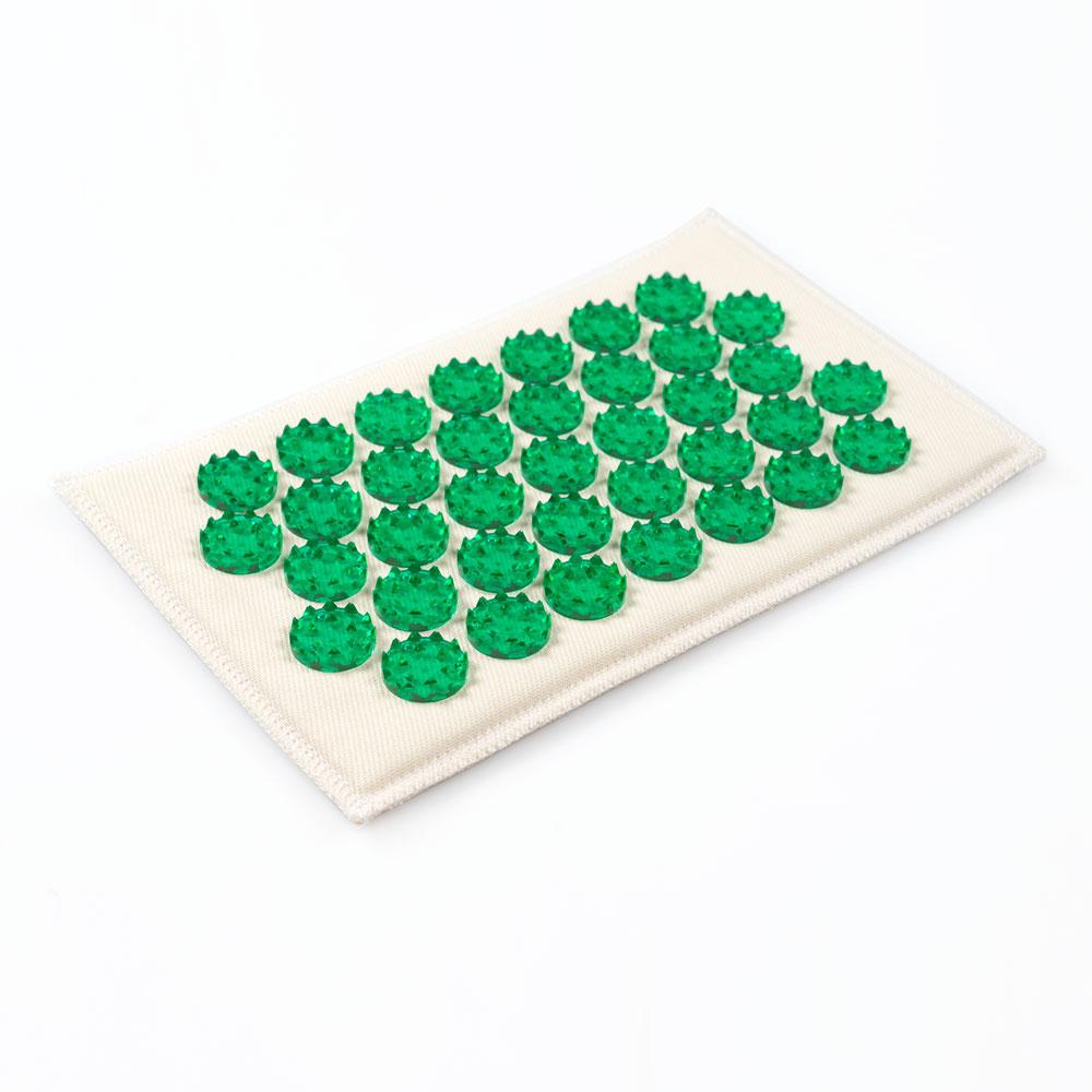 Массажер-иппликатор Тибетский на мягкой подложке, для чувствительной кожи, цвет: зеленый, 12х22 см