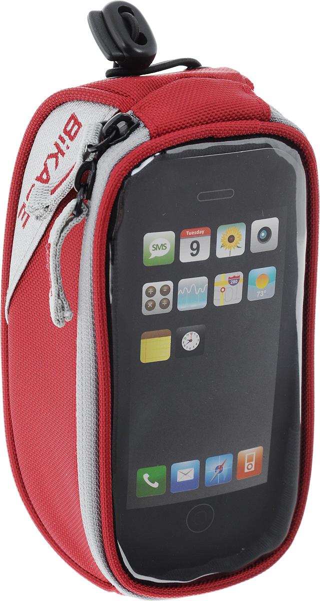 Сумка на верхнюю часть рамы BiKase Beetle, с чехлом для смартфона, цвет: красный, серый, 17 х 9 х 7 смPN1027Многофункциональная сумка BiKase Beetle выполнена извысококачественных материалов и снабжена отсеком для смартфона с прозрачным окошком.Устанавливается на руль или раму велосипеда при помощи крепежного ремня на липучке, также предусмотрен дополнительный эластичный шнур со стоппером.Сумка закрывается на застежку-молнию двумя бегунками. Имеются 2 светоотражающие вставки. Изделие подходит для iPhone 6/6S Plus и для других смартфонов.