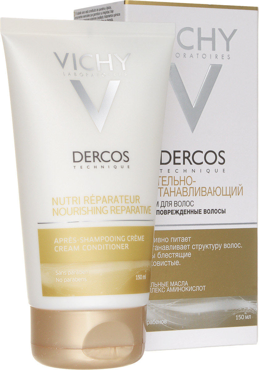 Vichy Бальзам-ополаскиватель питательно-восстанавливающий для сухих поврежденных волос Dercos, 150 млCUS300/S13ЭФФЕКТИВНОСТЬ Для интенсивного питания и восстановления волос, подвергающихся агрессивному воздействию внешних факторов (фен, химическая завивка, UV-излучение и т.д.).Лаборатории VICHY DERCOS впервые объединяют питательные масла (миндальное, сафлоровое и розовое) и 5 аминокислот (аргинин, глутамин, серин, цистеин и пролин) в одном комплексе для восстановления «строительных» компонентов волосы. Гипоаллергенная формула. Содержит UV-фильтры.Сохраняет блеск окрашенных волос. Без красителей. Без парабенов.АКТИВНЫЕ КОМПОНЕНТЫ Миндальное, сафлоровое и розовое питательные масла; аргинин, глутамин, серин, цистеин и пролин.РЕЗУЛЬТАТЫ Волосы восстановлены, блестящие и шелковистые. ТЕКСТУРА Гелеобразная белая эмульсия. СПОСОБ ПРИМЕНЕНИЯПосле использования шампуня нанесите небольшое количество бальзама на слегка отжатые полотенцем волосы, отступив 5-7 см от корней, оставьте на 1 минуту, смойте водой.