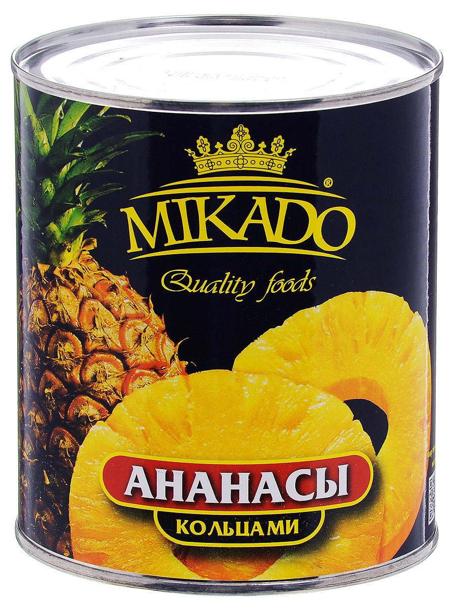 Mikado ананасы кольцами в сиропе, 850 мл0120710Ананасы Mikado в нежном сладком сиропе, резанные колечками, станут вкусным и полезным лакомством для вас и вашей семьи.