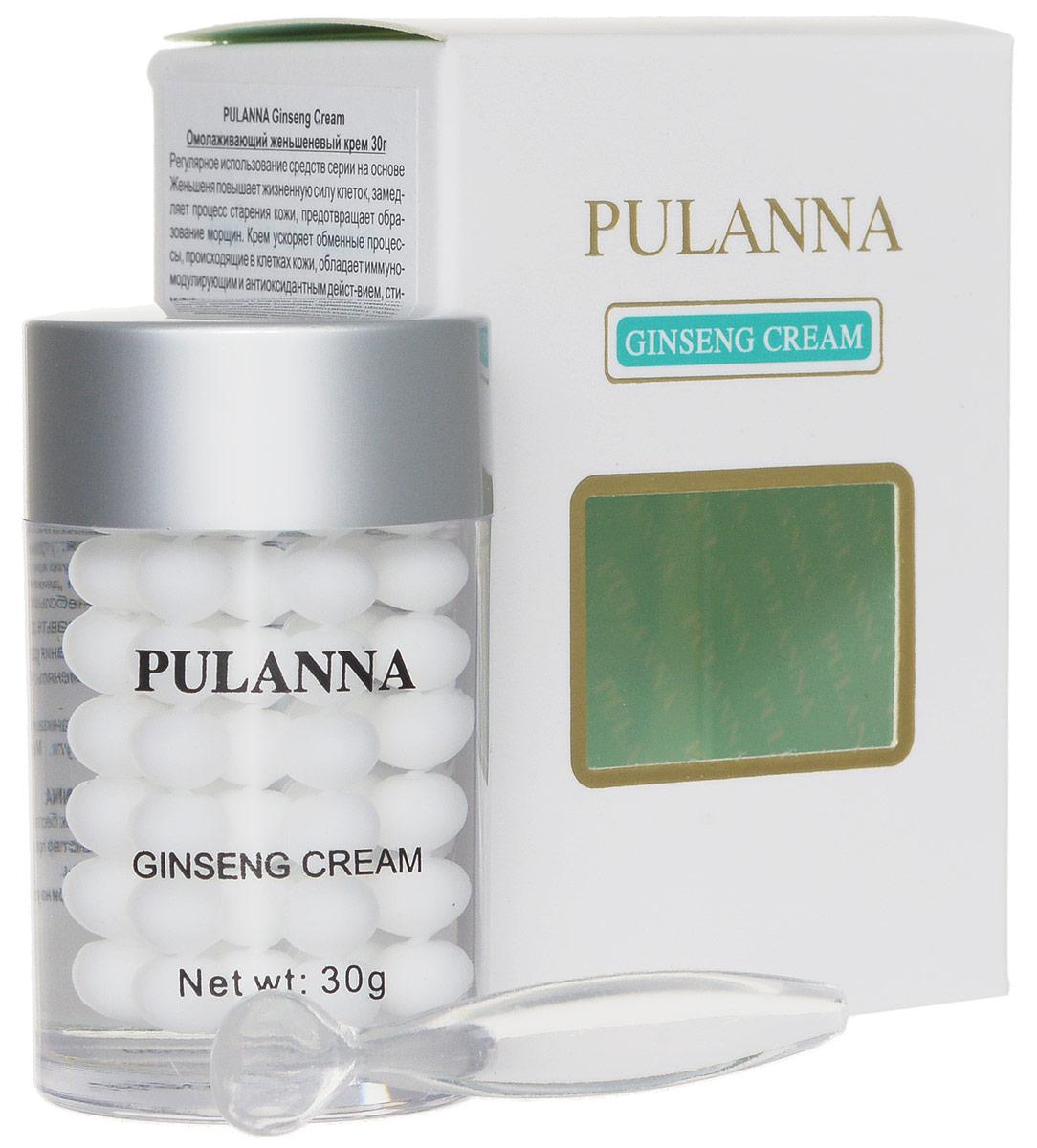 Pulanna Омолаживающий женьшеневый крем на основе женьшеня - Ginseng Cream 30 г5902596005085Крем ускоряет обменные процессы, происходящие в клетках кожи, обладает иммуномодулирующим и антиоксидантным действием, стимулирует процессы клеточного метаболизма, оказывает бактерицидное действие, выравнивает кожный рельеф. Питает, увлажняет, тонизирует. Усиливает сопротивляемость кожи к неблагоприятному воздействию окружающей среды, стимулирует регенерацию кожи, снабжает питательными и увлажняющими элементами. При регулярном использовнии улучшается цвет лица, сглаживаются морщинки, мимические линии и заломы.Универсальное средство: подходит для области век, лица и шеи! Для всех типов кожи с 40 - 45 лет.