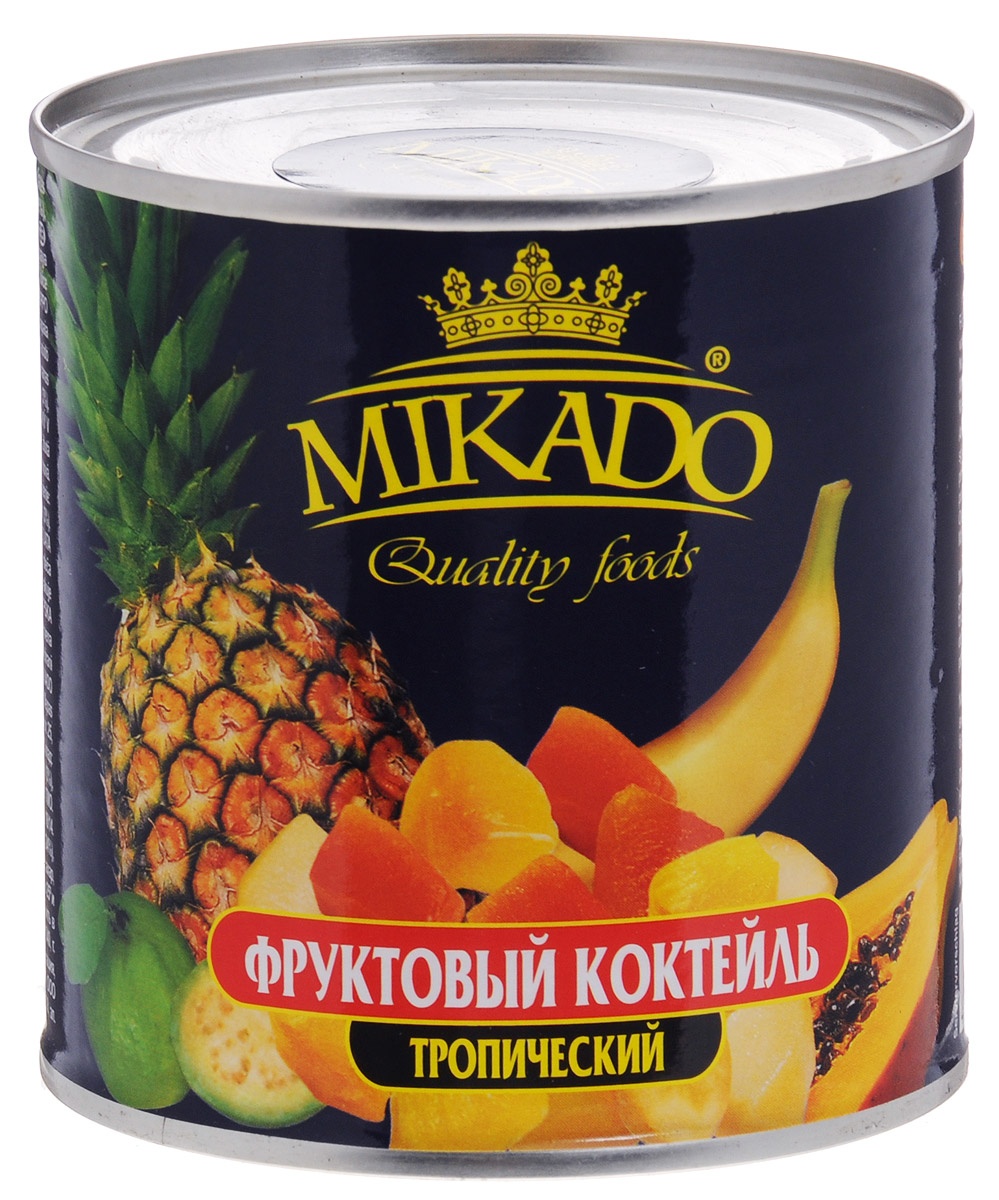 Mikado фруктовый коктейль тропический, 425 мл4007415006340Коктейль из тропических фруктов Mikado в нежном сахарном сиропе станет вкусным и полезным лакомством для вас и ваших детей.