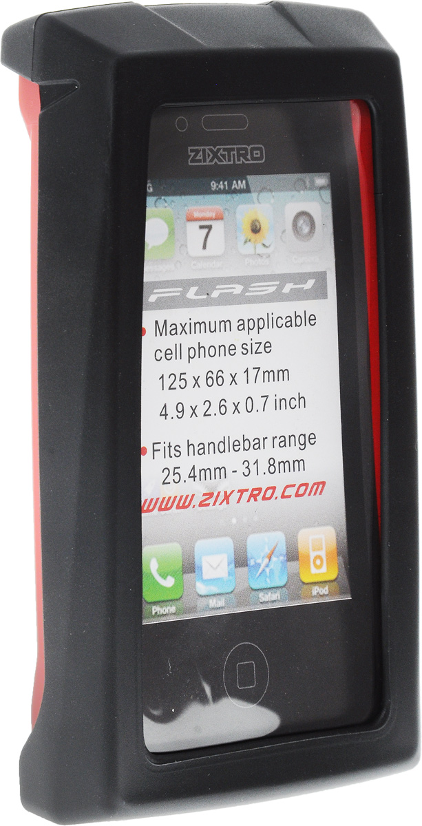 Чехол для смартфона на руль BiKase Flash, водонепроницаемый, цвет: черный, красный, прозрачный, 13,5 х 8 х 3 смZ1-055Водонепроницаемый чехол BiKase Flash позволит пользоваться гаджетом в любых погодных условиях. Устанавливается на руль при помощи поворачивающейся системой крепления. Возможность пользования всеми кнопками телефона и системой навигации. Максимальный размер применяемого гаджета: 12,5 х 6,6 х 1,7 см.Диаметр руля: 25,4-31,8 мм.Размер чехла (с учетом крепления): 13,5 х 8 х 9 см. Размер чехла (без учета крепления): 13,5 х 8 х 3 см.