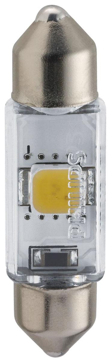 Лампа автомобильная светодиодная сигнальная Philips X-tremeVision LED, цоколь C5W Fest T10,5 (SV8,5-35/11), 4000К, 12V, 1W10503Высокомощные светодиодные лампы Philips X-tremeVision LED, излучающие дневной свет с цветовой температурой 6000К, обеспечивают улучшенное освещение интерьера. Долговечные и высокопрочные светодиоды будут служить вам 12 лет, избавляя от лишних хлопот. Особенности ламп: Широкий угол и равномерное распределение света для оптимального освещения салона автомобиля. Светодиодные лампы оснащены уникальной конструкцией, устойчивой к вибрациям и воздействию высоких температур до 105°.Мощные светодиодные лампы создают эффект дневного света для стильного освещения. Высокомощные светодиоды нового поколения будут работать в течение всего срока службы автомобиля. Автомобильные лампы Philips удовлетворят все нужды автомобилистов: дальний свет, ближний свет, передние противотуманные фары, передние и боковые указатели поворота, задние указатели поворота, стоп-сигналы, фонари заднего хода, задние противотуманные фонари, освещение номерного знака, задние габаритные/стояночные фонари, освещение салона.