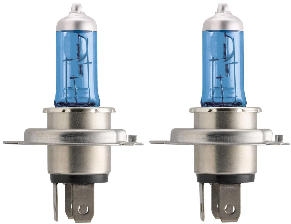 Лампа автомобильная галогенная Philips Crystal Vision, для фар, цоколь H4 (P43t), 12V, 60/55W, 2 шт + цоколь W5W, 12V, 5W, 2 шт2706 (ПО)Автомобильная галогенная лампа Philips CrystalVision произведена из запатентованного кварцевого стекла с УФ фильтром Philips Quartz Glass. Кварцевое стекло Philips в отличие от обычного твердого стекла выдерживает гораздо большее давление смеси газов внутри колбы, что препятствует быстрому испарению вольфрама с нити накаливания. Кварцевое стекло выдерживает большой перепад температур, при попадании влаги на работающую лампу изделие не взрывается и продолжает работать. Лампы Philips CrystalVision имеют мощный белый свет с цветовой температурой 4300К. Разработаны для водителей, которым необходимо яркое освещение на дороге и важен индивидуальный стиль. Увеличенная светоотдача позволяет гораздо лучше различать дорожные знаки и препятствия. Лампы подходят для всех погодных условий, особенно ощутимый визуальный комфорт при поездках в ночное время. Автомобильные галогенные лампы Philips удовлетворят все нужды автомобилистов: дальний свет, ближний свет, передние противотуманные фары, передние и боковые указатели поворота, задние указатели поворота, стоп-сигналы, фонари заднего хода, задние противотуманные фонари, освещение номерного знака, задние габаритные/стояночные фонари, освещение салона.