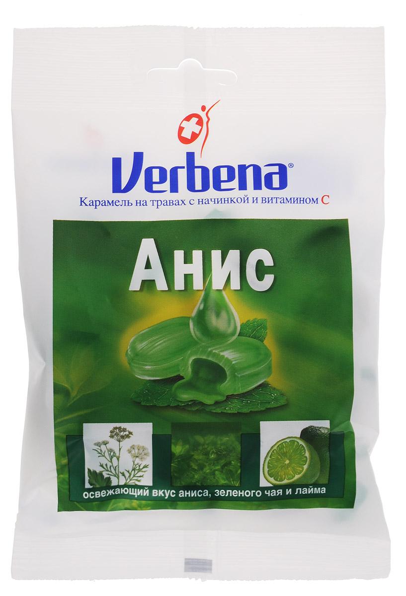 Verbena Анис карамель на травах, 60 гнво001Карамель Verbena Анис с начинкой из натуральных экстрактов лечебных растений имеют повышенное содержание витамина С (200мг на 100 г). Всего 6 леденцов Verbena обеспечит более половины суточной потребности витамина С!