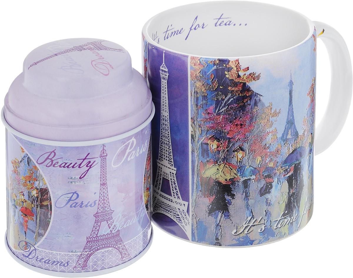 Набор подарочный Феникс-Презент Дождь в Париже, 2 предмета25051 7_желтыйПодарочный набор Феникс-Презент Дождь в Париже включает в себя керамическую кружку и металлическую банку. Предметы оформлены оригинальным рисунком. В банке можно хранить чай, кофе или приправы.Такой набор будет отличной находкой для себя или подарком для друга. Объем кружки: 300 мл.Диаметр кружки: 8 см.Высота кружки: 9,5 см.Размер банки (с учетом крышки): 6,8 х 6,8 х 9,5 см.Объем банки: 250 мл.