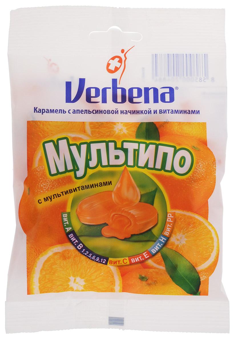 Verbena Мультипо карамель с апельсиновой начинкой, 60 г12181347Карамель Verbena Мультипо с начинкой из натуральных экстрактов лечебных растений имеют повышенное содержание витамина С (200 мг на 100 г). Всего 6 леденцов Verbena обеспечит более половины суточной потребности витамина С!