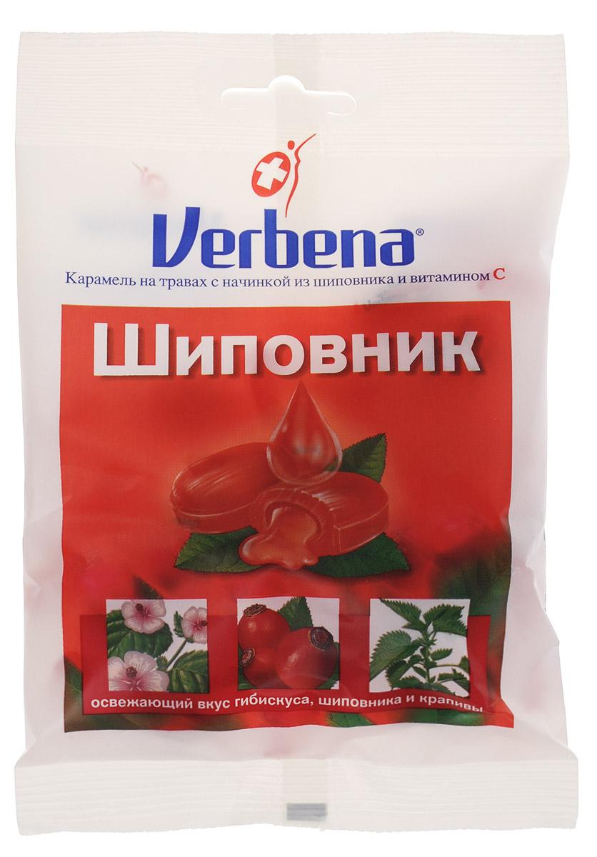 Verbena Шиповник карамель на травах, 60 г0120710Карамель Verbena Шиповник с начинкой из натуральных экстрактов лечебных растений имеет повышенное содержание витамина С (200 мг на 100 г). Всего 6 леденцов Verbena обеспечит более половины суточной потребности витамина С!