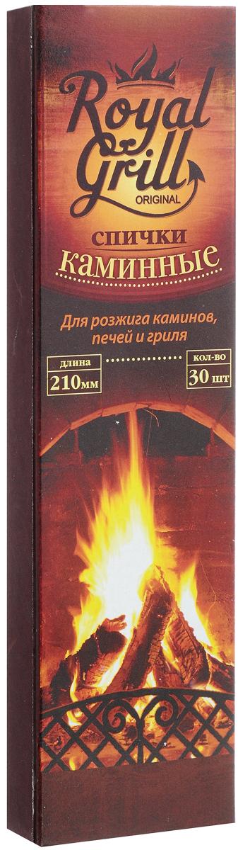 Спички RoyalGrill, каминные, длина 21 см, 30 шт67743Спички RoyalGrill предназначены для розжига каминов, печей и гриля. Отлично загораются, их удобно держать в руке с минимальным риском ожогов. Состав: древесина, зажигательный состав.Длина спички: 21 см.Количество: 30 шт.