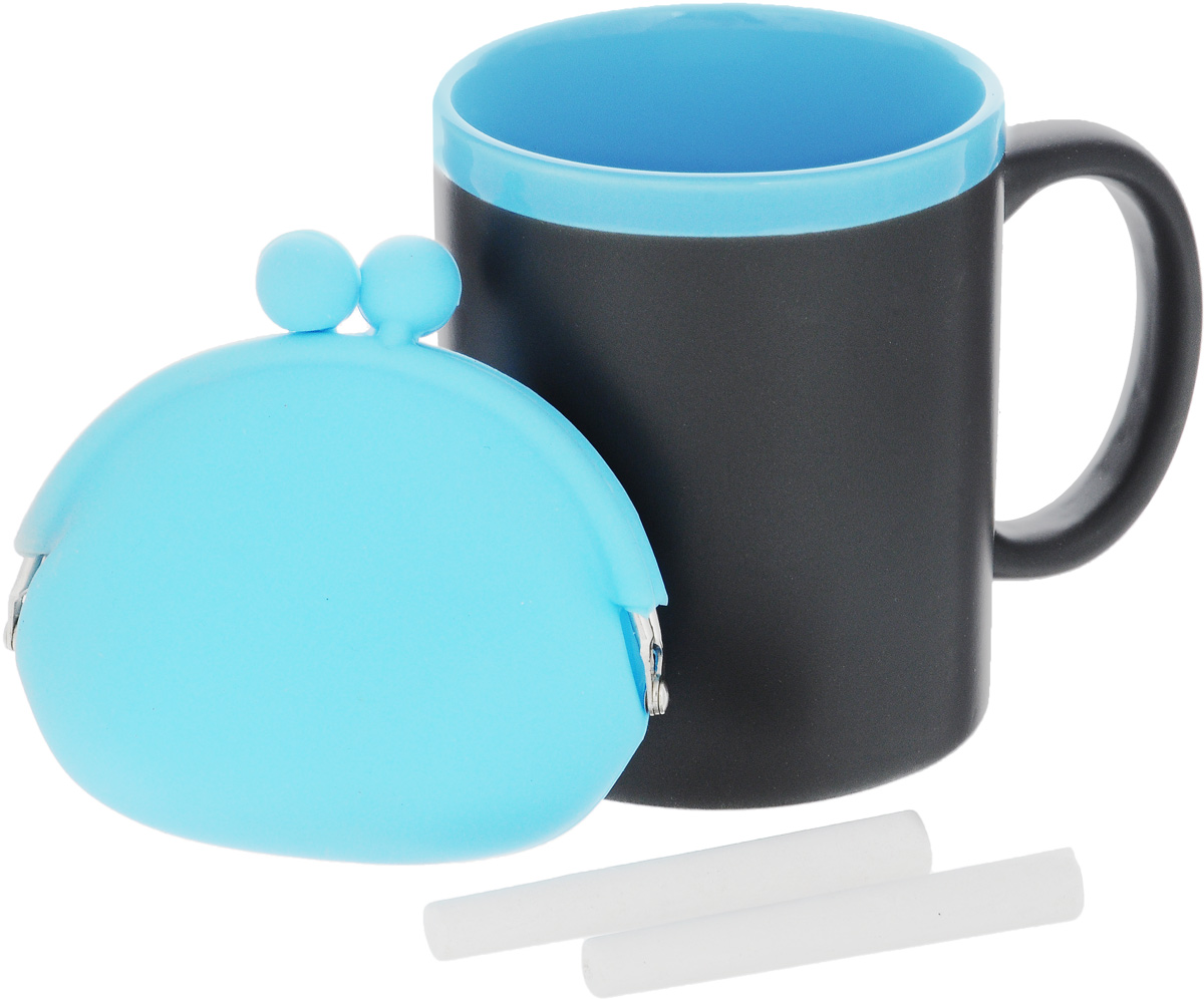 Набор подарочный Феникс-Презент Magic Home: кружка, мелки, кошелек, цвет: черный, голубойFS-80299Подарочный набор Феникс-Презент Magic Home включает в себя кружку с поверхностью, на которой можно писать, силиконовый кошелек и 2 мелка. Все изделия выполнены из высококачественных материалов.Такой набор будет отличной находкой для себя или подарком для друга. Объем кружки: 300 мл.Диаметр кружки: 8 см.Высота кружки: 9,7 см.Размер кошелька (без учета застежки): 10 х 8,5 см.Длина мелков: 7 см.