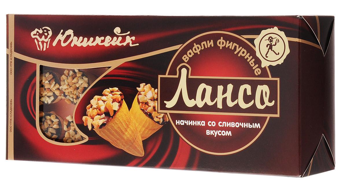 Юникейк Лансо вафли фигурные со сливочной начинкой, 170 г0120710Вкусные, нежные, ароматные с приятной сливочно-арахисовой начинкой и хрустящей корочкой вафли Лансо - это всегда начало прекрасного дня