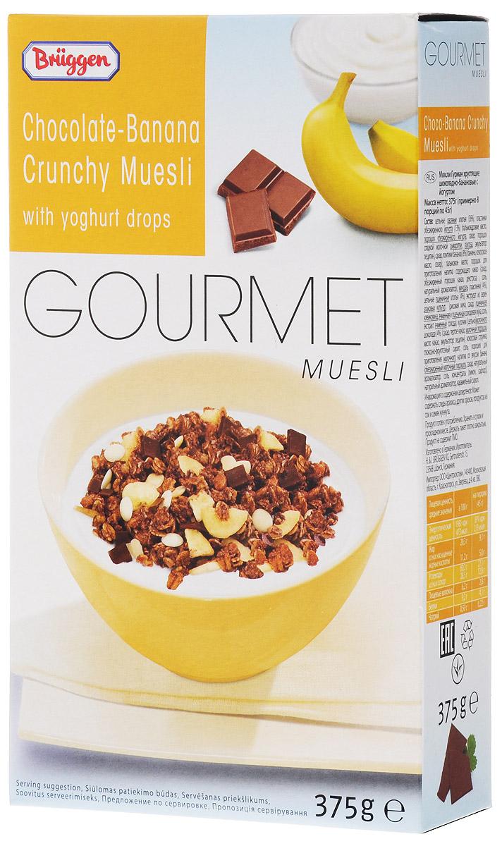 Gourmet Jovita мюсли шоколад банан йогурт, 375 гбйб115Мюсли Gourmet Jovita с шоколадом и бананом изготовлены из лучших сортов злаков, содержат кусочки банана, пластинки обезжиренного йогурта, пластинки миндаля, кокосовую стружку, и кусочки молочного шоколада.