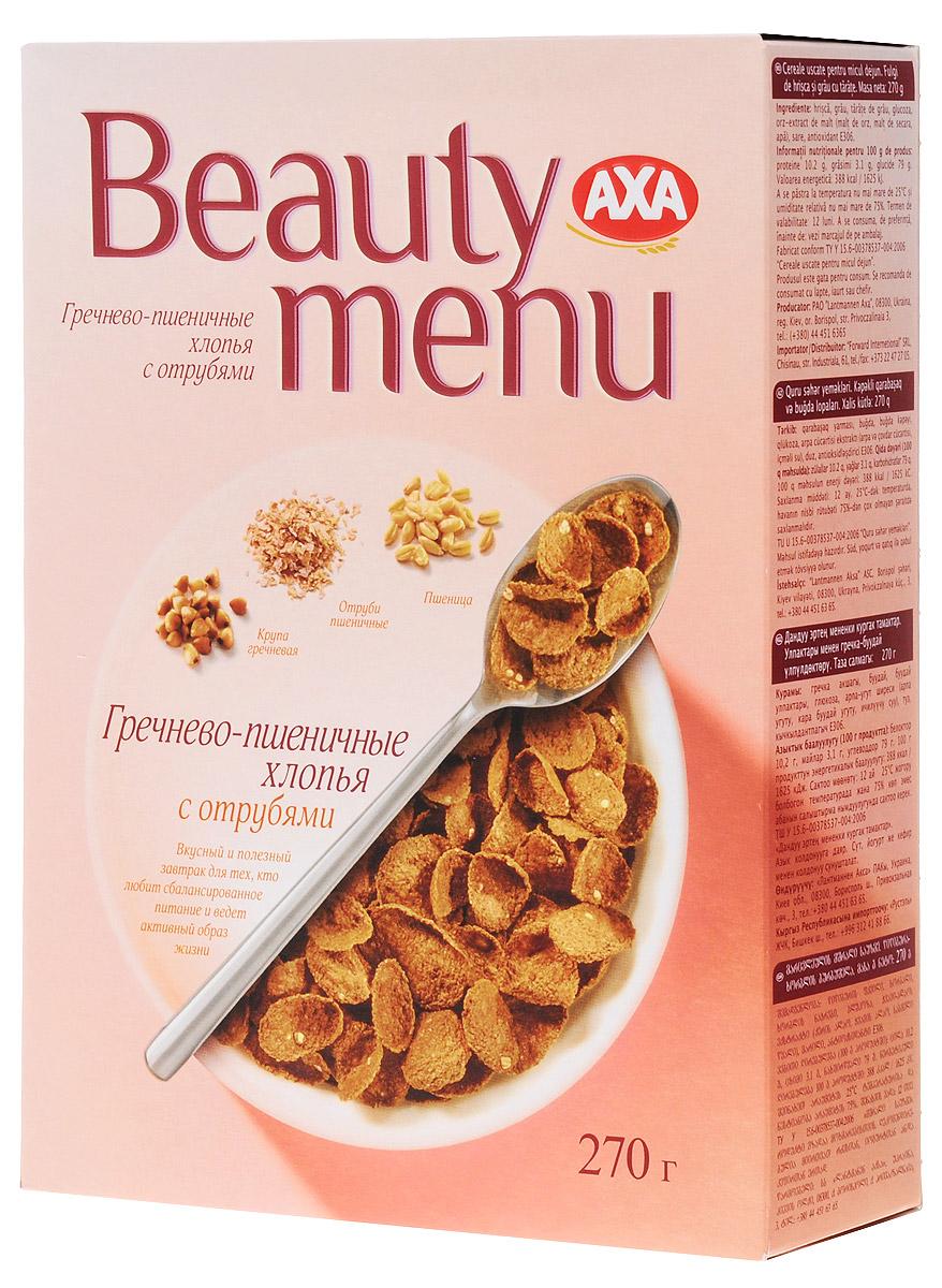 AXA Beauty menu хлопья гречнево-пшеничные с отрубями, 270 гбйт012Хлопья AXA Beauty menu - вкусный и полезный готовый завтрак для тех, кто любит сбалансированное питание и ведет активный образ жизни.