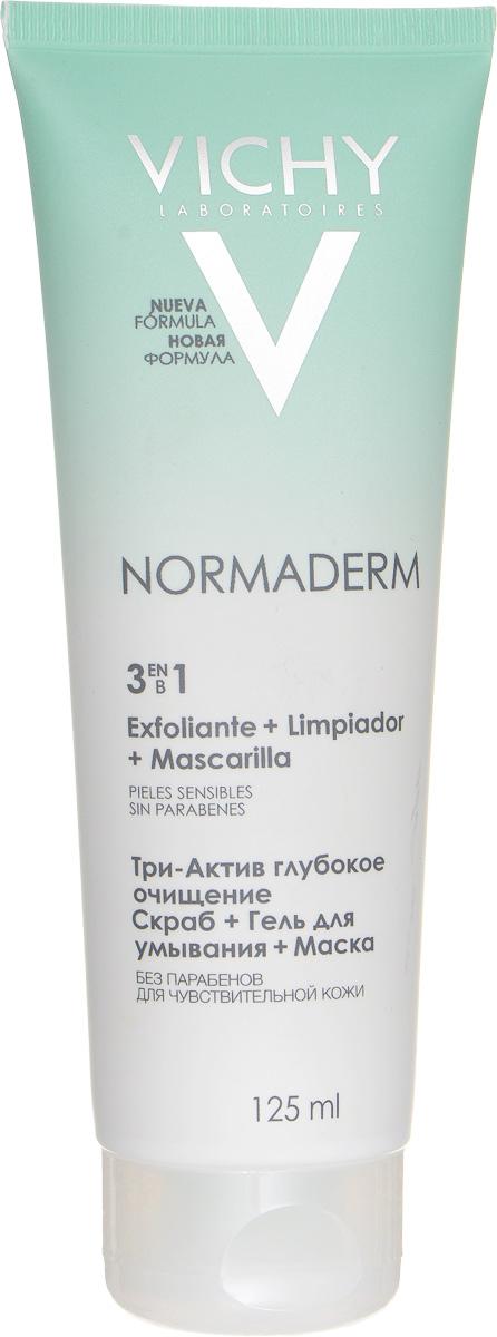 Vichy Глубокое очищение 3 в 1 гель + скраб + маска для лица Normaderm, 125 млM3502900Сочетание активных пилинг-ингредиентов, успокаивающих компонентов и 25%-ой концентрации глины в текстуре гель-крема для глубокого очищения проблемной кожи. Один продукт Vichy Normaderm 3-In-1 Cleanser Scrub Mask с тремя функциями: 1. Гель для умывания: устраняет жирный блеск и предотвращает появление воспалительных элементов.2. Скраб: очищает поры, устраняет черные точки.3. Маска: матирует и выравнивает поверхность кожи.
