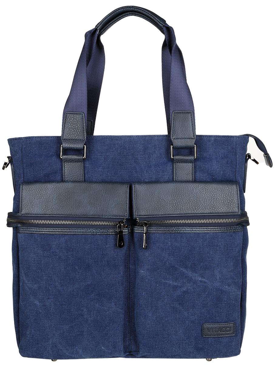 Сумка мужская Vitacci, цвет: синий. MW07510130-11Стильная мужская сумка Vitacci идеально подойдет под ваш образ. Она выполнена из качественного текстиля и комбинирована вставками из искусственной кожи. Изделие оформлено в оригинальном дизайне. На лицевой стороне расположено два открытых кармана и два кармана на молнии. На тыльной стороне сумки расположен вшитый карман на молнии. Внутри расположено вместительное отделение, которое включает в себя один вшитый карман на молнии, два открытых кармана для мелочей и карман с утолщенной стенкой, который закрывается хлястиком на кнопку. Сумка оснащена удобным плечевым ремнем, длина которого регулируется с помощью пряжки. Такая модная и удобная сумка станет незаменимым аксессуаром в вашем гардеробе.