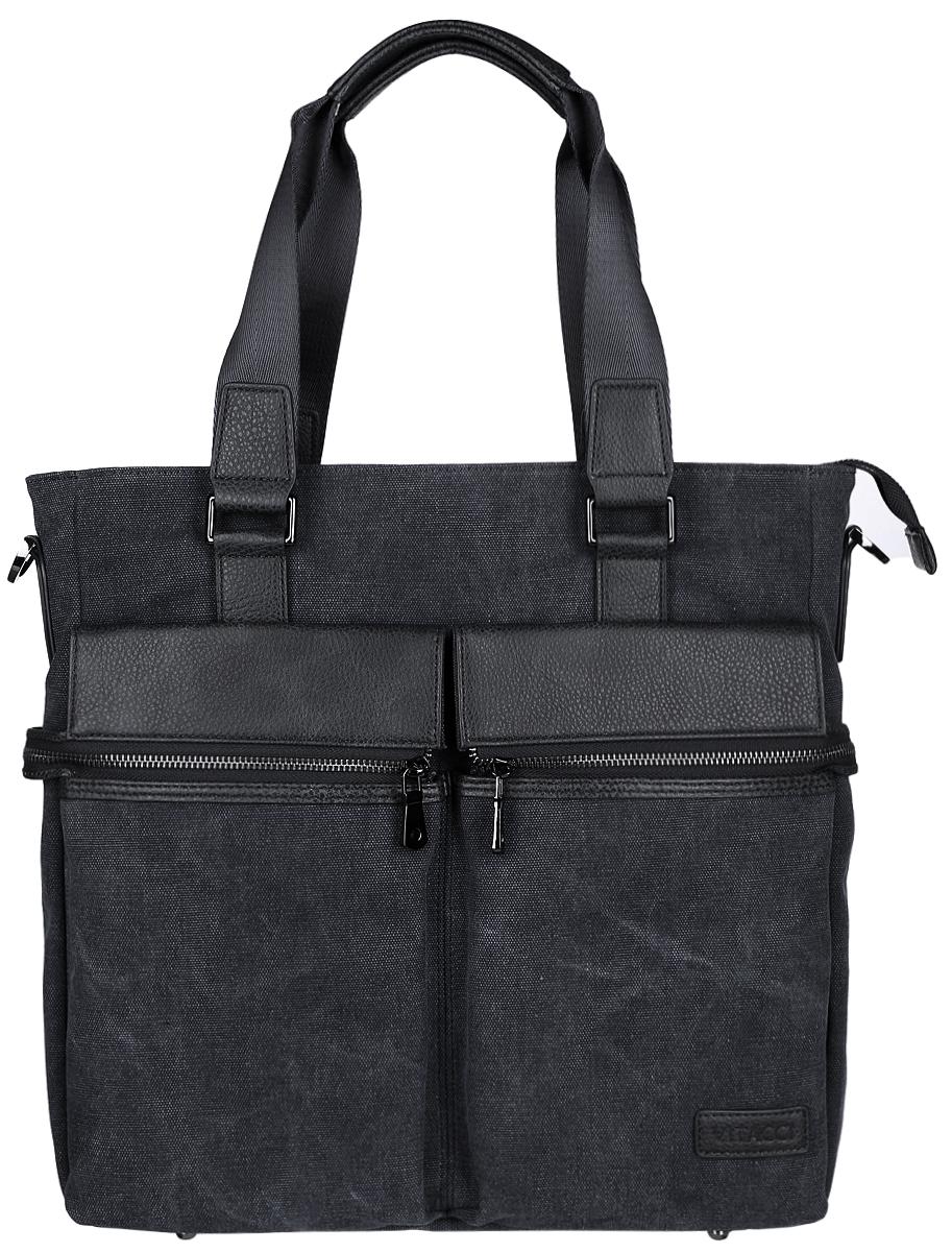 Сумка мужская Vitacci, цвет: темно-серый, черный. MW074ML597BUL/DСтильная мужская сумка Vitacci идеально подойдет под ваш образ. Она выполнена из качественного текстиля и комбинирована вставками из искусственной кожи. Изделие оформлено в оригинальном дизайне. На лицевой стороне расположено два открытых кармана и два кармана на молнии. На тыльной стороне сумки расположен вшитый карман на молнии. Внутри расположено вместительное отделение, которое включает в себя один вшитый карман на молнии, два открытых кармана для мелочей и карман с утолщенной стенкой, который закрывается хлястиком на кнопку. Сумка оснащена удобным плечевым ремнем, длина которого регулируется с помощью пряжки. Такая модная и удобная сумка станет незаменимым аксессуаром в вашем гардеробе.