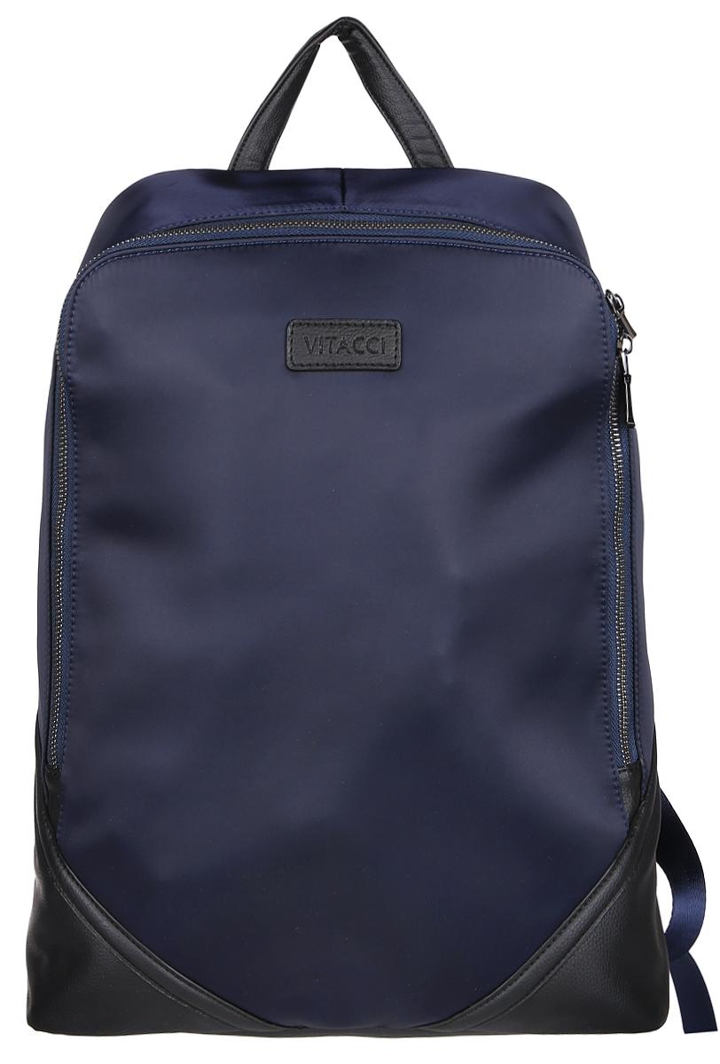 Рюкзак мужской Vitacci, цвет: темно-синий. MW077579995-400Стильный мужской рюкзак Vitacci идеально подойдет под ваш образ. Он выполнен из качественной комбинированной искусственной кожи. Изделие оформлено нашивкой с названием фирмы. Внутри расположено главное отделение, которое состоит из одного кармана на молнии для мелочей, небольшого открытого кармана и вшитого открытого отделения. Рюкзак оснащен широкими лямками, длина которых регулируется с помощью пряжек.Такой модный и удобный рюкзак станет незаменимым аксессуаром в вашем гардеробе.