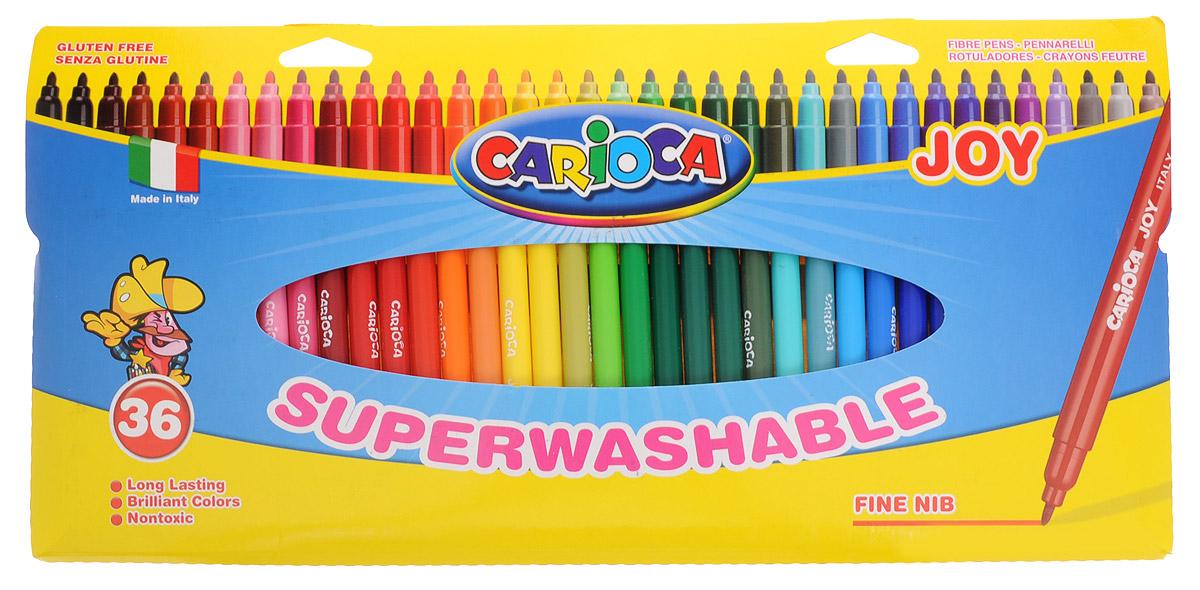Carioca Набор фломастеров Superwashable 36 цветовFS-36055Набор Carioca Superwashable состоит из 36 разноцветных фломастеров, которые отлично подойдут и для школьных занятий и просто для рисования.Фломастеры рисуют яркими насыщенными цветами. Чернила на водной основе легко смываются с кожи и отстирываются с большинства тканей. Корпус фломастеров изготовлен из пластика, а колпачок имеет специальные отверстия, что обеспечивает вентилирование и еще больше увеличивает срок службы чернил и предотвращает их преждевременное высыхание.