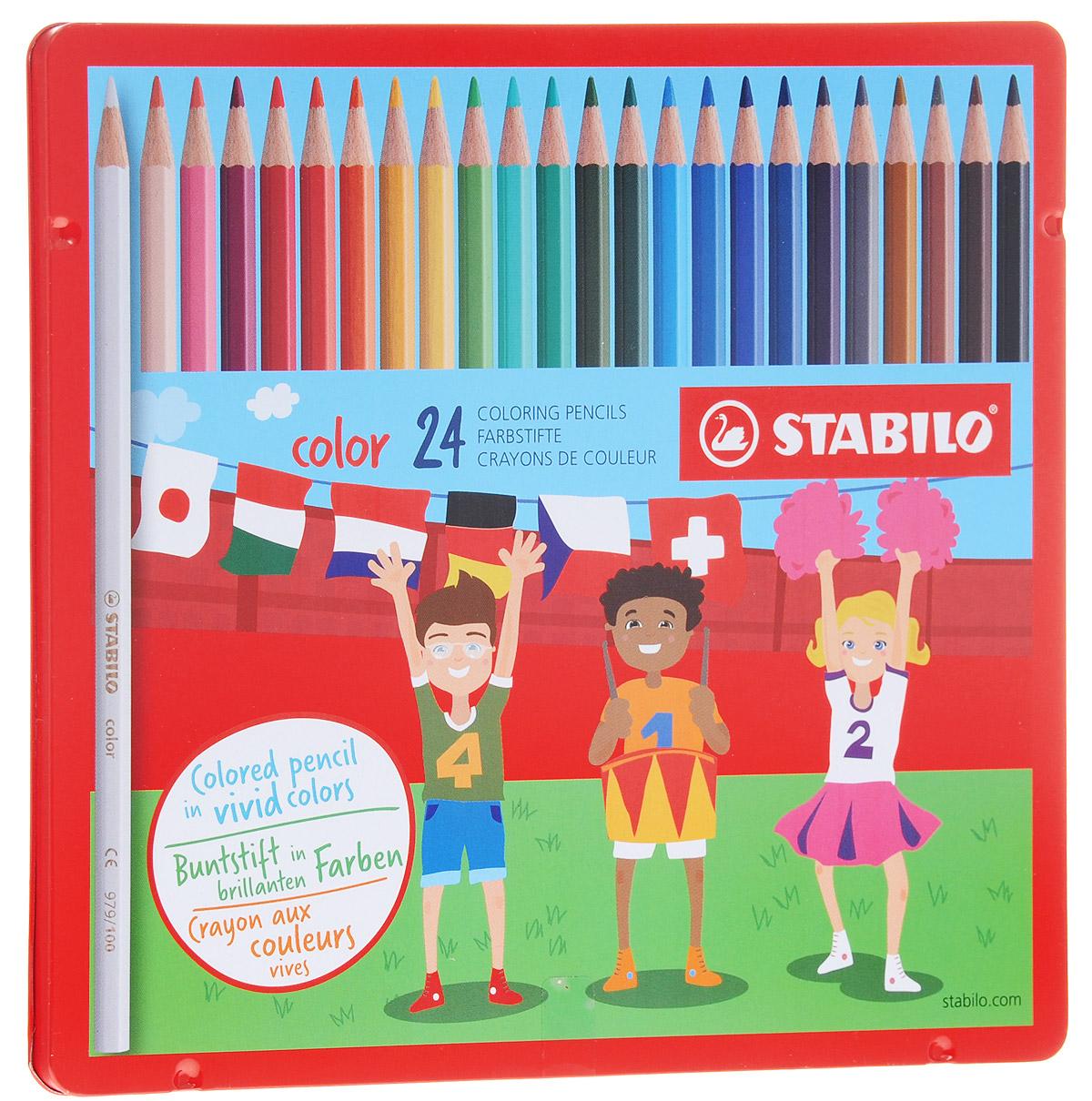 Stabilo Набор цветных карандашей Color 24 шт3552/12 8 KSСерия цветных карандашей STABILO color в металлических футлярах. Широкая гамма цветов, которые отлично смешиваются и позволяют создавать огромное количество оттенков. Насыщенные цвета имеют высокую светостойкость. Мягкий грифель легко рисует на бумаге, не царапая ее и не крошась. Карандаши не ломаются при рисовании и затачивании.