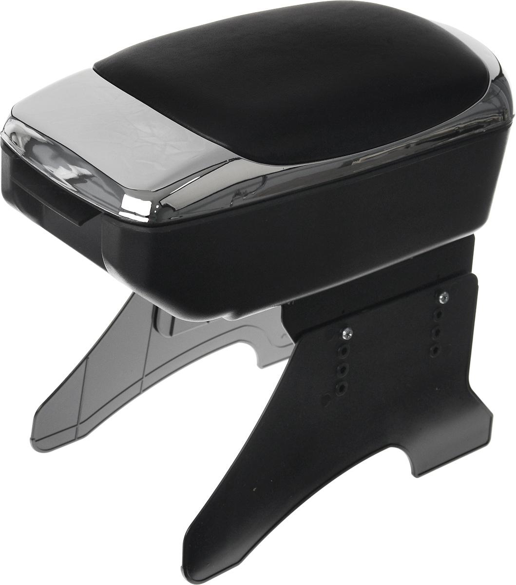 Подлокотник универсальный Azard, цвет: хром, черный511200Универсальный подлокотник Azard изготовлен из прочного пластика и снабжен мягкой вставкой из искусственной кожи. Практичный подлокотник оснащен просторным отсеком. Также имеется небольшая секция для мелочей. Закрывается на замок. Откидывающаяся крышка мягкая и прочная, она послужит удобной опорой для руки при вождении автомобиля. Подлокотник легко и быстро крепится между передними сиденьями автомобиля при помощи пластиковых ножек (крепеж входит в комплект). Подлокотник отлично вписывается в общую концепцию автомобиля, обеспечивая эргономичное использование пространства. Легко очищается мягкой тканью. Установка подлокотника не требует специальных навыков или инструментов и займет не более 10 минут. Установка подлокотника не снижает уровень безопасности автомобиля, не мешает креплению ремней безопасности, а также обеспечивает свободный доступ к рычагу стояночного тормоза. Модель соответствует стандарту ЕЭК ООН.