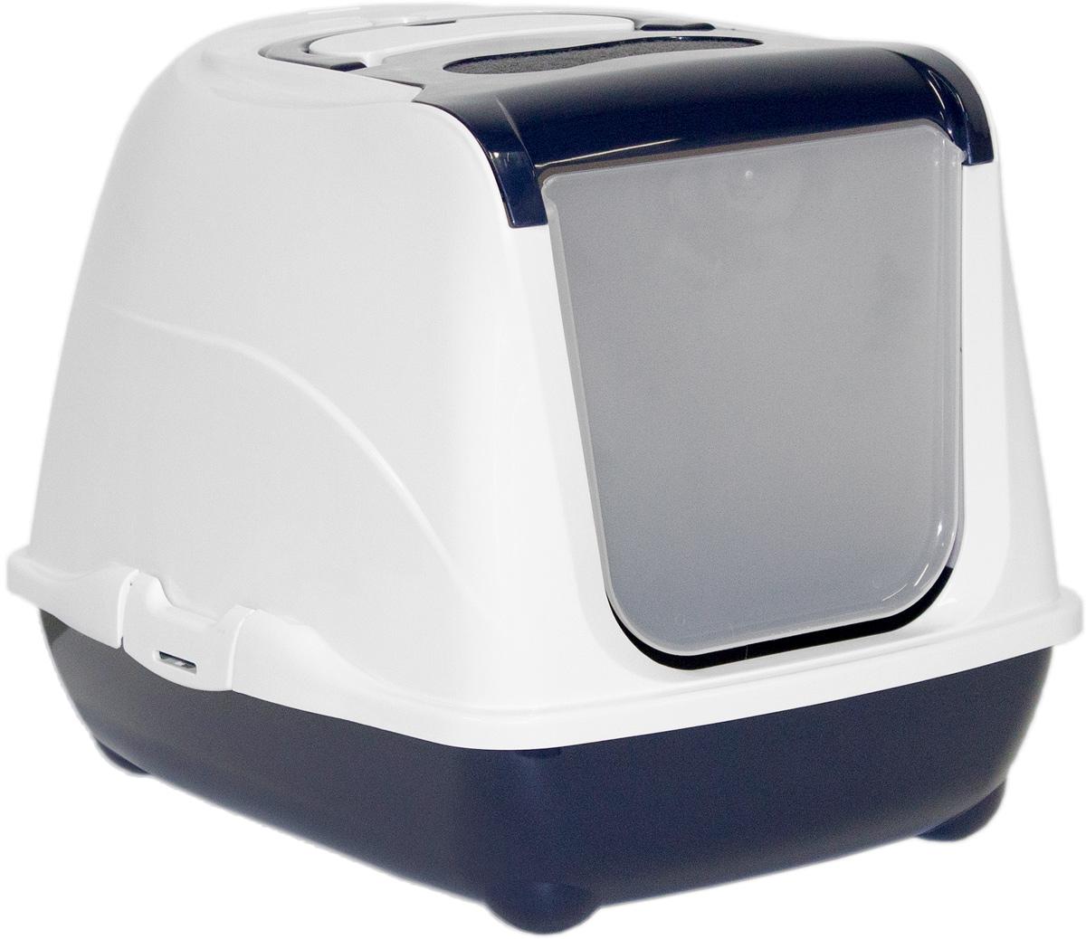 Туалет закрытый для кошек Moderna Flip Cat, цвет: темно-синий, 39х50х37 см14C230021
