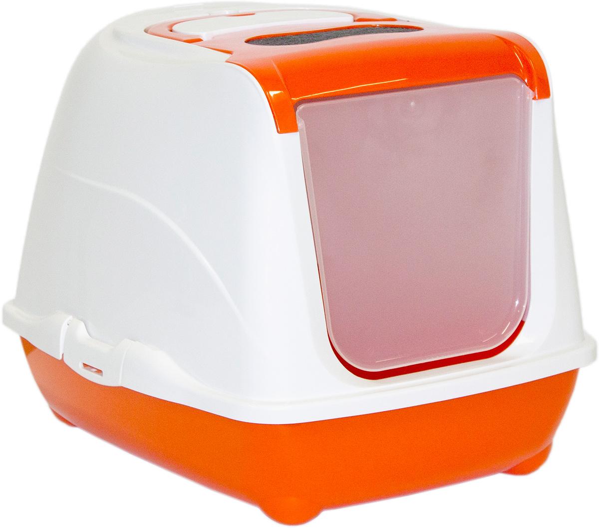Туалет для кошек Moderna Flip Cat, закрытый, цвет: оранжевый, 39 х 50 х 37 см14C230148Закрытый туалет для кошек Flip Cat выполнен из высококачественного пластика. Туалет оснащен прозрачной открывающейся дверцей, сменным фильтром и удобной ручкой для переноски. Такой туалет избавит ваш дом от неприятного запаха и разбросанных повсюду частичек наполнителя. Кошка в таком туалете будет чувствовать себя увереннее, ведь в этом укромном уголке ее никто не увидит. Кроме того, яркий дизайн с легкостью впишется в интерьер вашего дома. Туалет легко открывается для чистки благодаря практичным защелкам по бокам.