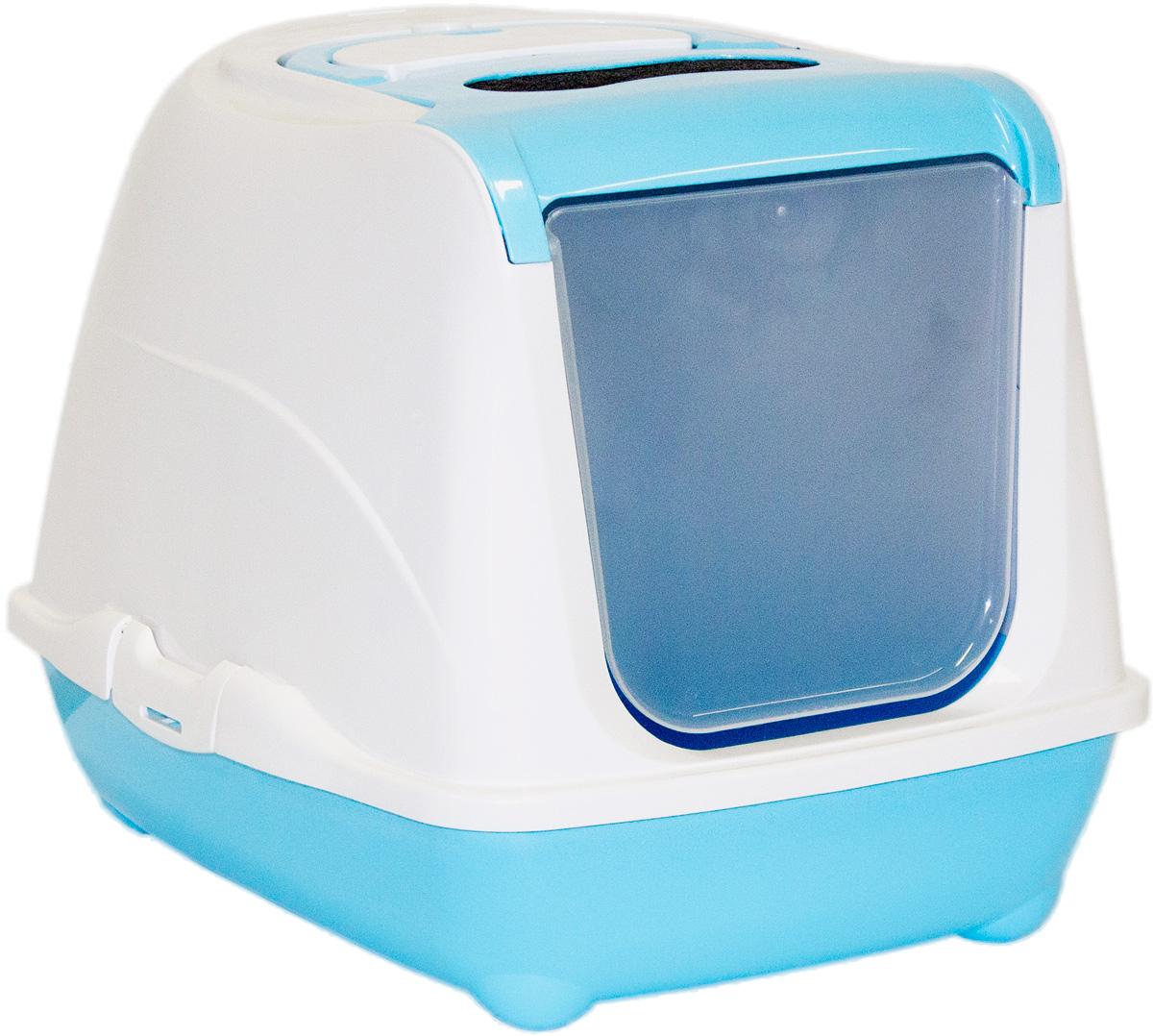 Туалет для кошек Moderna Flip Cat, закрытый, цвет: голубой, 39 х 50 х 37 см43524Закрытый туалет для кошек Flip Cat выполнен из высококачественного пластика. Туалет оснащен прозрачной открывающейся дверцей, сменным фильтром и удобной ручкой для переноски. Такой туалет избавит ваш дом от неприятного запаха и разбросанных повсюду частичек наполнителя. Кошка в таком туалете будет чувствовать себя увереннее, ведь в этом укромном уголке ее никто не увидит. Кроме того, яркий дизайн с легкостью впишется в интерьер вашего дома. Туалет легко открывается для чистки благодаря практичным защелкам по бокам.
