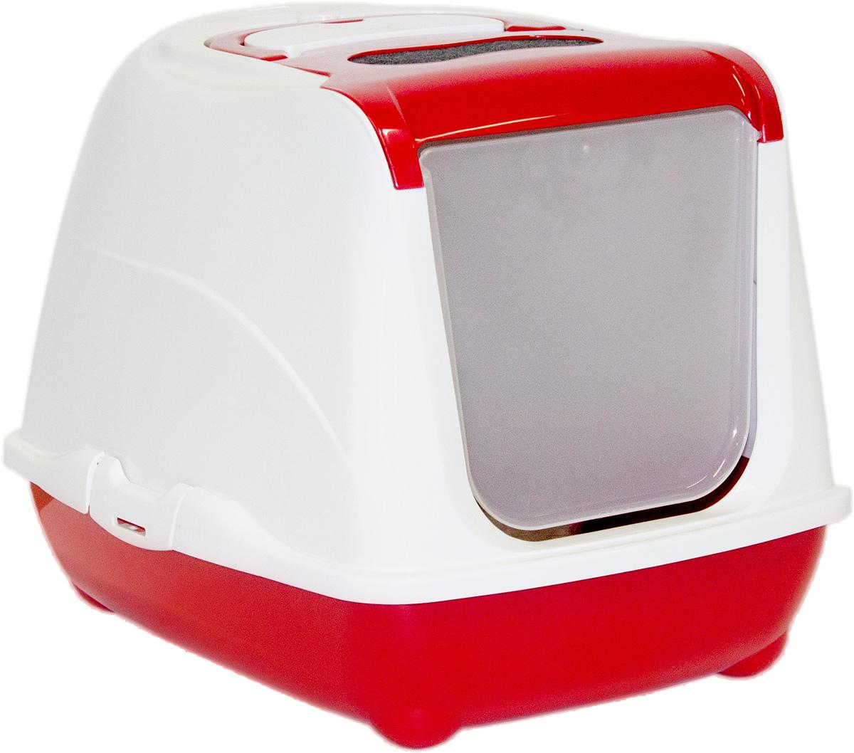 Туалет для кошек Moderna Flip Cat, закрытый, цвет: бордовый, 39 х 50,4 х 37,4 см0120710Закрытый туалет для кошек Flip Cat выполнен из высококачественного пластика. Туалет оснащен прозрачной открывающейся дверцей, сменным фильтром и удобной ручкой для переноски. Такой туалет избавит ваш дом от неприятного запаха и разбросанных повсюду частичек наполнителя. Кошка в таком туалете будет чувствовать себя увереннее, ведь в этом укромном уголке ее никто не увидит. Кроме того, яркий дизайн с легкостью впишется в интерьер вашего дома. Туалет легко открывается для чистки благодаря практичным защелкам по бокам.