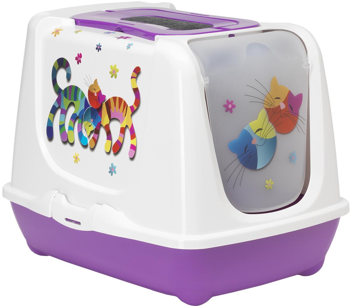Туалет для кошек Moderna Trendy Cat. Друзья навсегда, закрытый, цвет: фиолетовый, 57 х 45 х 42,6 см0120710Закрытый туалет для кошек Trendy Cat. Друзья навсегда выполнен из высококачественного пластика. Туалет оснащен прозрачной открывающейся дверцей, сменным фильтром и удобной ручкой для переноски. Такой туалет избавит ваш дом от неприятного запаха и разбросанных повсюду частичек наполнителя. Кошка в таком туалете будет чувствовать себя увереннее, ведь в этом укромном уголке ее никто не увидит. Кроме того, яркий дизайн с легкостью впишется в интерьер вашего дома. Туалет легко открывается для чистки благодаря практичным защелкам по бокам.