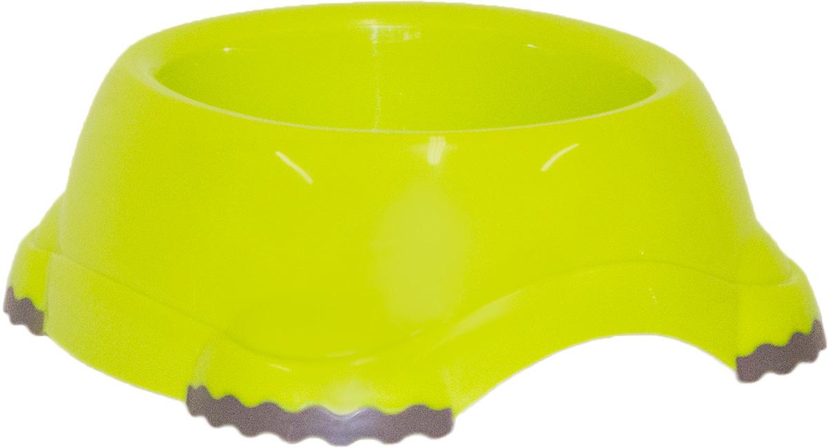Миска Moderna Smarty bowl, с антискольжением, цвет: зеленый, 19 х 7 см0120710Миска для корма и воды из полированного пластика. Ножки миски имеют резиновые накладки для предотвращения скольжения по полу. Качественный пластик не гнется, не ломается, не впитывает запахи, миска легко моется, имеет длительных срок эксплуатации. Стильный дизайн, широкая цветовая гамма. Специально разработанная конструкция для удобства Вашего питомца.Характеристики:Размер миски: 24 х 21 х 9 см;Глубина миски: 7 см;Цвет: зеленый.