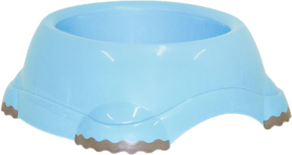 Миска Moderna Smarty bowl, с антискольжением, цвет: голубой, 19 х 7 см378Миска для корма и воды из полированного пластика. Ножки миски имеют резиновые накладки для предотвращения скольжения по полу. Качественный пластик не гнется, не ломается, не впитывает запахи, миска легко моется, имеет длительных срок эксплуатации. Стильный дизайн, широкая цветовая гамма. Специально разработанная конструкция для удобства Вашего питомца.Характеристики:Размер миски: 24 х 21 х 9 см;Глубина миски: 7 см;Цвет: голубой.