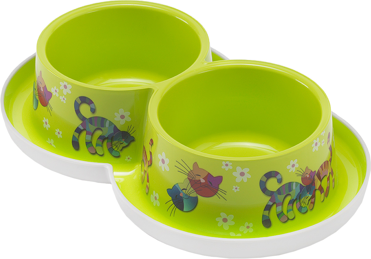 Миска для кошек Moderna Trendy Dinner. Друзья навсегда, цвет: зеленый, 350 мл0120710Удобная и оригинальная двойная миска для кошек Moderna Trendy Dinner. Друзья навсегда выполнена из пищевого пластика с нескользящим дном. Можно использовать для воды и корма одновременно. Миска устойчива и не переворачивается. Высококачественная полировка, устойчива к деформации. Можно мыть в посудомоечной машине.Объем одной миски: 350 мл.Диаметр одной миски (по верхнему краю): 11 см.Высота миски: 6 см.Размер изделия: 27 х 16 х 6 см.