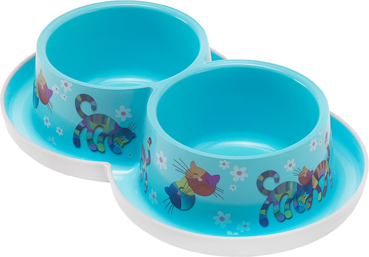 Миска для кошек Moderna Trendy Dinner. Друзья Навсегда, цвет: голубой, 350 мл0120710Удобная и оригинальная двойная миска для кошек Moderna Trendy Dinner. Друзья Навсегда выполнена из пищевого пластика с нескользящим дном. Можно использовать для воды и корма одновременно. Миска устойчива и не переворачивается. Высококачественная полировка, устойчива к деформации. Можно мыть в посудомоечной машине.Объем одной миски: 350 мл.Диаметр одной миски (по верхнему краю): 11 см.Высота миски: 6 см.Размер изделия: 27 х 16 х 6 см.