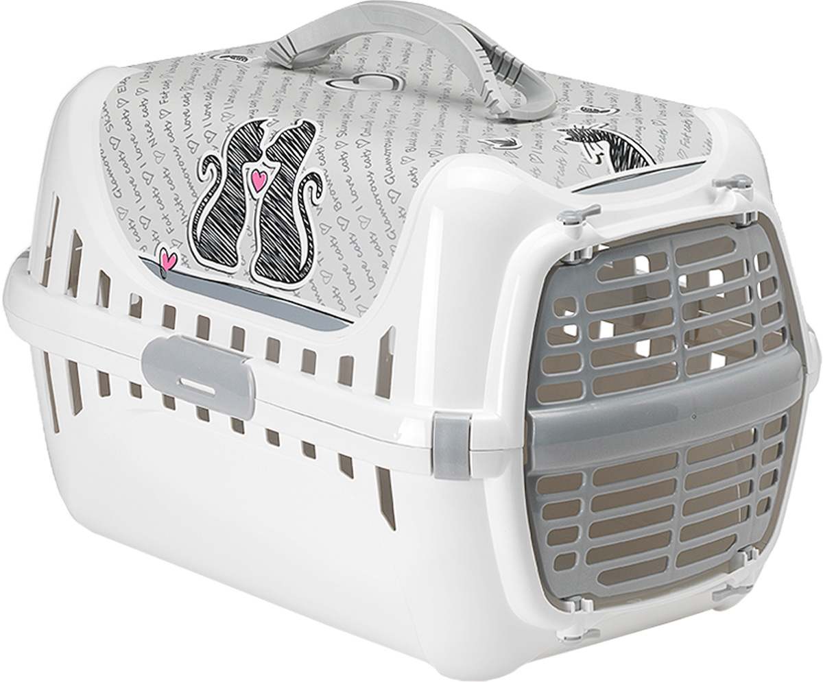 Переноска для животных Moderna Trendy Runner. Влюбленные кошки, 31 х 51 х 34 см0120710Переноска Moderna Trendy Runner. Влюбленные кошки выполнена из высококачественного пластика и имеет приятный внешний вид. Она достаточно вместительна и оснащена вентиляционными отверстиями в боковых частях, благодаря чему животное может дышать. Спереди расположена пластиковаядверца-решетка. Переноска разбирается. Сверху имеется ручка для удобной транспортировки.Размер: 31 х 51 х 34 см.