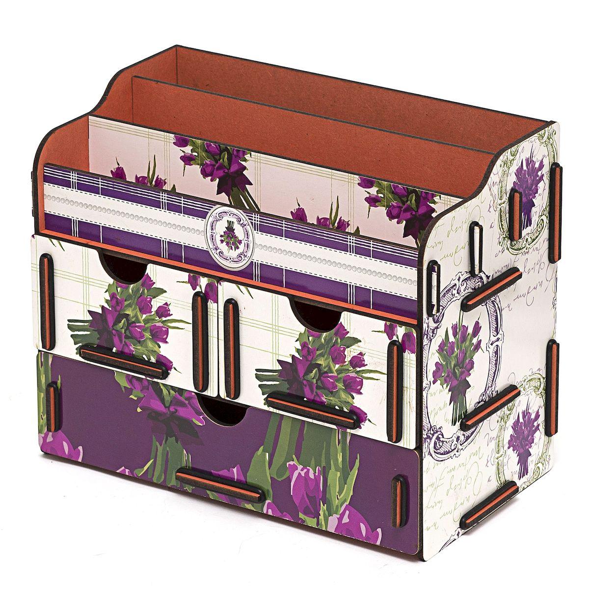 Органайзер для косметики и украшений Hosmu Весна, 24 x 14 x 19 см74-0120Настольный органайзер Homsu Весна выполнен из МДФ и собирается из съемных деталей. Изделие подходит для косметики и украшений. Органайзер имеет 3 выдвижных ящичка и 3 секции для хранения косметики, парфюмерии и аксессуаров, его можно поставить на столе, он станет отличным дополнением интерьера. Изделие позволяет разместить все самое необходимое для женщины и всегда иметь это под рукой. Размер малого ящика: 11 х 14,5 см.Размер большого ящика: 22 х 14,5 см.