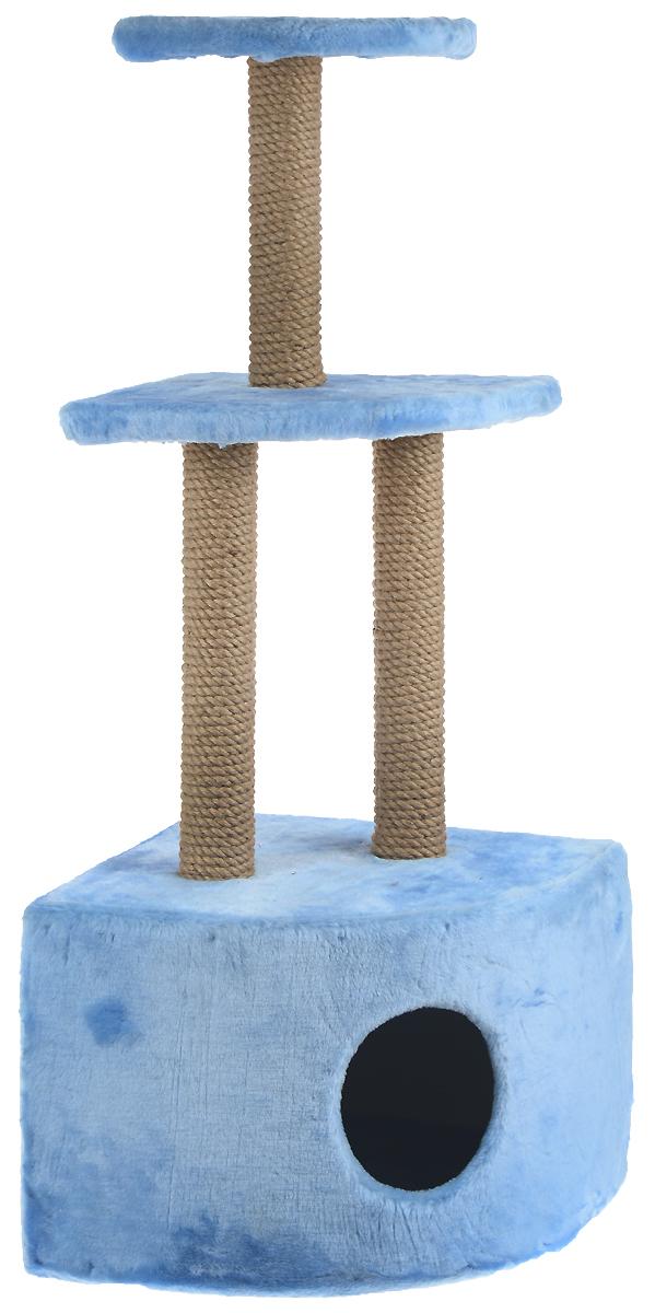 Домик-когтеточка ЗооМарк, угловой, 3-ярусный, цвет: голубой, бежевый, 42 х 42 х 105 смД517СКДомик-когтеточка ЗооМарк выполнен из высококачественного дерева и обтянут искусственным мехом. Изделие предназначено для кошек. Домик имеет 3 яруса. Ваш домашний питомец будет с удовольствием точить когти о специальные столбики, изготовленные из джута. А отдохнуть он сможет либо на полках, либо в расположенном внизу домике.Общий размер: 42 х 42 х 105 см.Размер домика: 42 х 42 х 31 см.Размер большой полки: 35 х 35 см.Размер малой полки: 25 х 25 см.