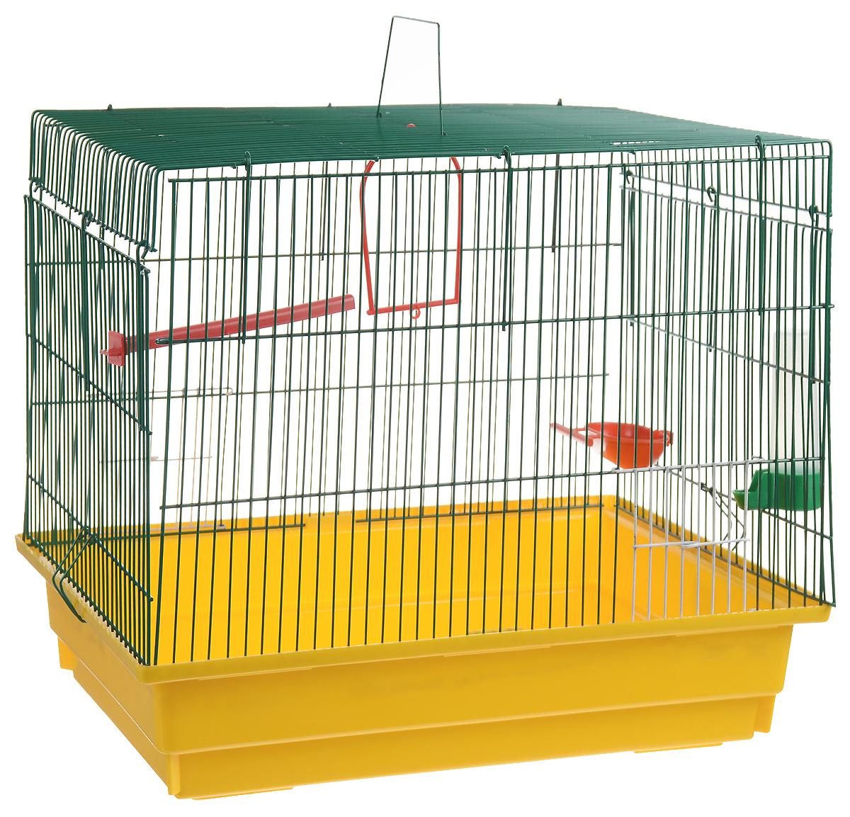 Клетка для птиц ЗооМарк, цвет: желтый поддон, зеленая решетка, 50 х 31 х 41 см725дк_желтый, красныйКлетка ЗооМарк, выполненная из полипропилена и металла с эмалированным покрытием, предназначена для птиц.Изделие состоит из большого поддона и решетки. Клетка снабжена металлической дверцей. Она удобна в использовании и легко чистится. Клетка оснащена жердочкой, кольцом для птицы, поилкой, кормушкой и подвижной ручкой для удобной переноски. Комплектация: - клетка с поддоном, - поилка; - кормушка;- кольцо.