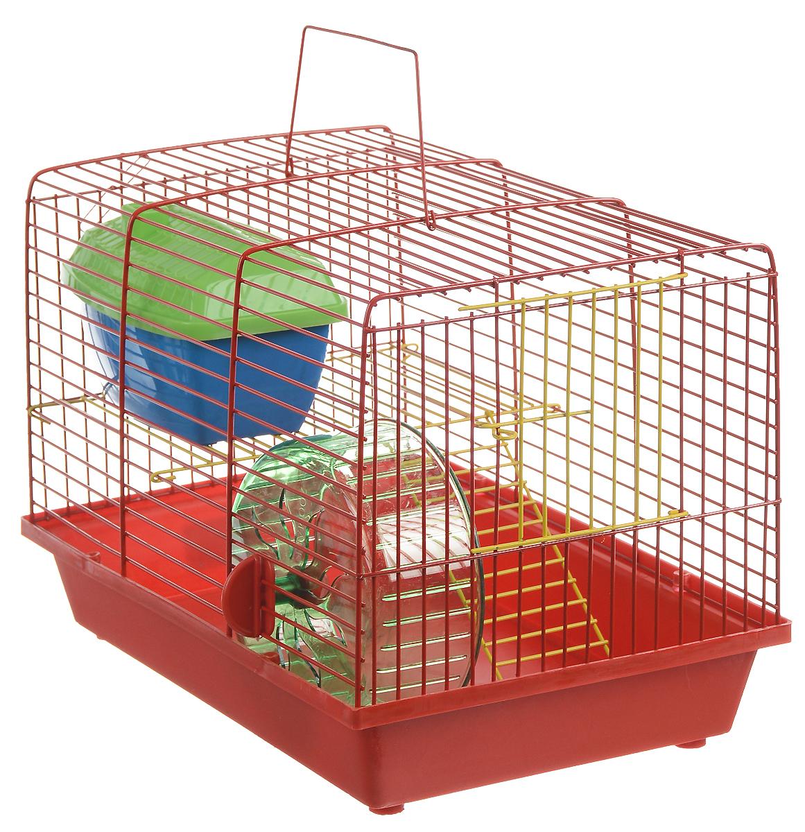 Клетка для грызунов ЗооМарк, 2-этажная, цвет: красный поддон, красная решетка, желтый этаж, 36 х 22 х 24 см. 125жК-7_желтыйКлетка ЗооМарк, выполненная из полипропилена и металла, подходит для мелких грызунов. Изделие двухэтажное, оборудовано колесом для подвижных игр и пластиковым домиком. Клетка имеет яркий поддон, удобна в использовании и легко чистится. Сверху имеется ручка для переноски. Такая клетка станет уединенным личным пространством и уютным домиком для маленького грызуна.
