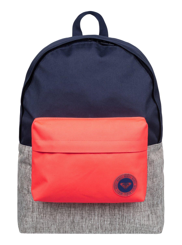 Рюкзак женский Roxy Sugar Baby Colorblock, цвет: синий, серый, оранжевый. ERJBP03263-BSQ0S76245Женский рюкзак Roxy выполнен из текстиля. У модели одно основное отделение. Передний карман на молнии. Рюкзак с регулируемыми набивными заплечными ремнями.