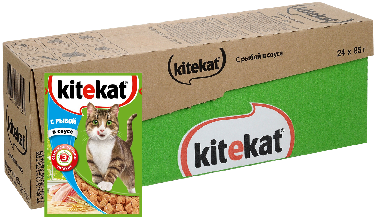 Консервы Kitekat для взрослых кошек, с рыбой в соусе, 85 г х 24 шт12171996Консервы Kitekat - это порция сочных кусочков с рыбой, приготовленных по особому рецепту. В основе корма формула сбалансированного питания, которая содержит белки, минералы, витамины, таурин и животные жиры. Порадуйте вашего питомца - в каждой порции только качественные продукты, как и те, что на вашей кухне: мясные ингредиенты, злаки и жиры животного происхождения. Все натуральные свойства сохранены и правильно сбалансированы для энергии и здоровья вашего кота. Товар сертифицирован.