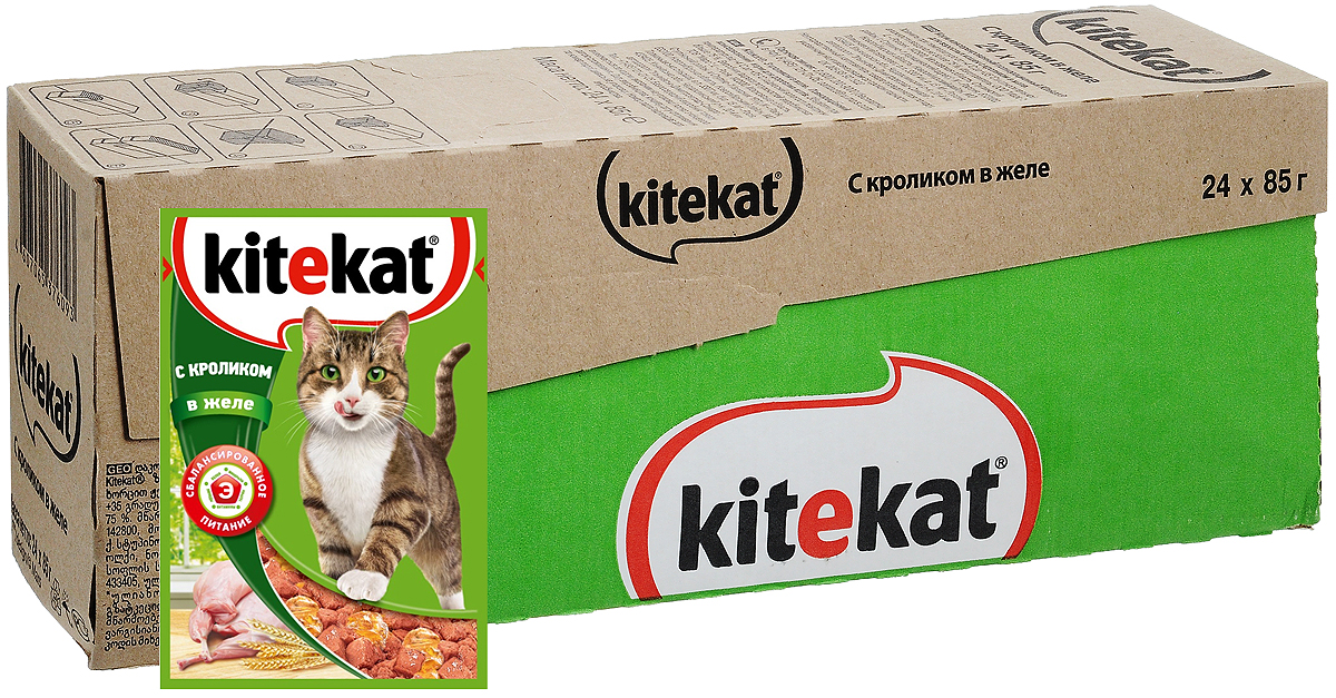 Консервы Kitekat для взрослых кошек, с кроликом в желе, 85 г х 24 шт4620002670863Консервы Kitekat - это порция сочных кусочков с кроликом, приготовленных по особому рецепту. В основе корма формула сбалансированного питания, которая содержит белки, минералы, витамины, таурин и животные жиры. Порадуйте вашего питомца - в каждой порции только качественные продукты, как и те, что на вашей кухне: мясные ингредиенты, злаки и жиры животного происхождения. Все натуральные свойства сохранены и правильно сбалансированы для энергии и здоровья вашего кота. В упаковке 24 пауча по 85 г.Товар сертифицирован.