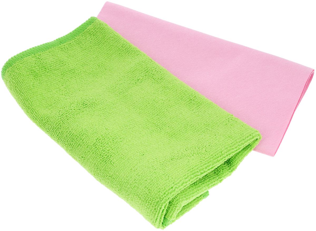 Набор салфеток для ухода за автомобилем Pingo, цвет: салатовый, розовый, 2 штRC-100BWCНабор для ухода за автомобилем Pingo состоит из 2 салфеток: из гладкой микрофибры и из махровой микрофибры. Салфетки идеальны для чистки лобового стекла, пластика и хрома, обивки сидений, кузова автомобиля. Подходят для влажной и сухой уборки. Могут быть использованы без химических средств, отлично впитывают воду, пыль и грязь. Размер салфеток: 40 х 36 см; 32 х 32 см.