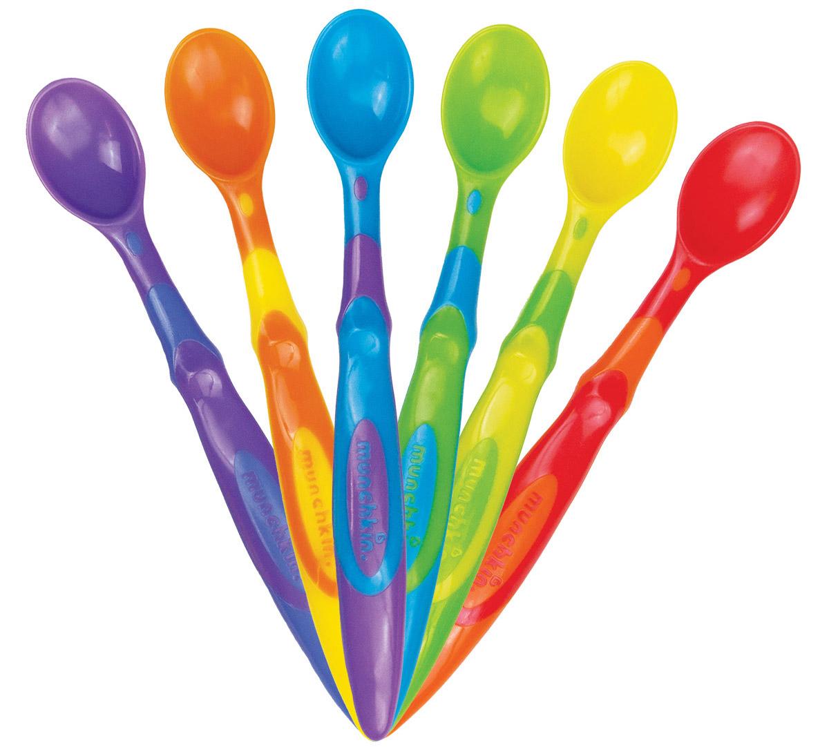 Munchkin Набор пластиковых ложек 6 шт115510Набор Munchkin включает в себя шесть детских ложечек разных цветов. Ложечки изготовлены из безопасного пластика, не содержащего Бисфенол-А. Закругленные края ложечек мягко прикасаются к деснам малыша, не раня их. Удобная длинная ручка позволит достать до дна даже глубокой посуды. Кредо Munchkin, американской компании с 20-летней историей: избавить мир от надоевших и прозаических товаров, искать умные инновационные решения, которые превращает обыденные задачи в опыт, приносящий удовольствие. Понимая, что наибольшее значение в быту имеют именно мелочи, компания создает уникальные товары, которые помогают поддерживать порядок, организовывать пространство, облегчают уход за детьми - недаром компания имеет уже более 140 патентов и изобретений, используемых в создании ее неповторимой и оригинальной продукции. Munchkin делает жизнь родителей легче!