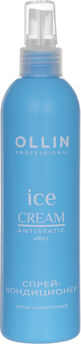 Ollin Спрей-кондиционер Ice Cream Spray Conditioner 250 млP0685401Ollin Ice Cream Spray Conditioner Спрей-кондиционер уникальное косметическое средство по уходу за волосами. Это самое простое, по способу нанесения, вещество, которое к тому же, обладает большим положительным набором качеств. При длительных нагрузках спрей-кондиционер, богатый своей протеиновой основой, легко справляется с нехваткой питательных элементов в зимний период. Помимо питательных молекул, в составе препарата присутствуют фосфолипиды из шафрана и дополнительный растительный комплекс. Спрей легко подправит структуру волос, и надолго выровняет их кутикулу. Использование на постоянной основе такого замечательного спрея, позволит окружающим увидеть вас гладкой, изящной и обворожительной.