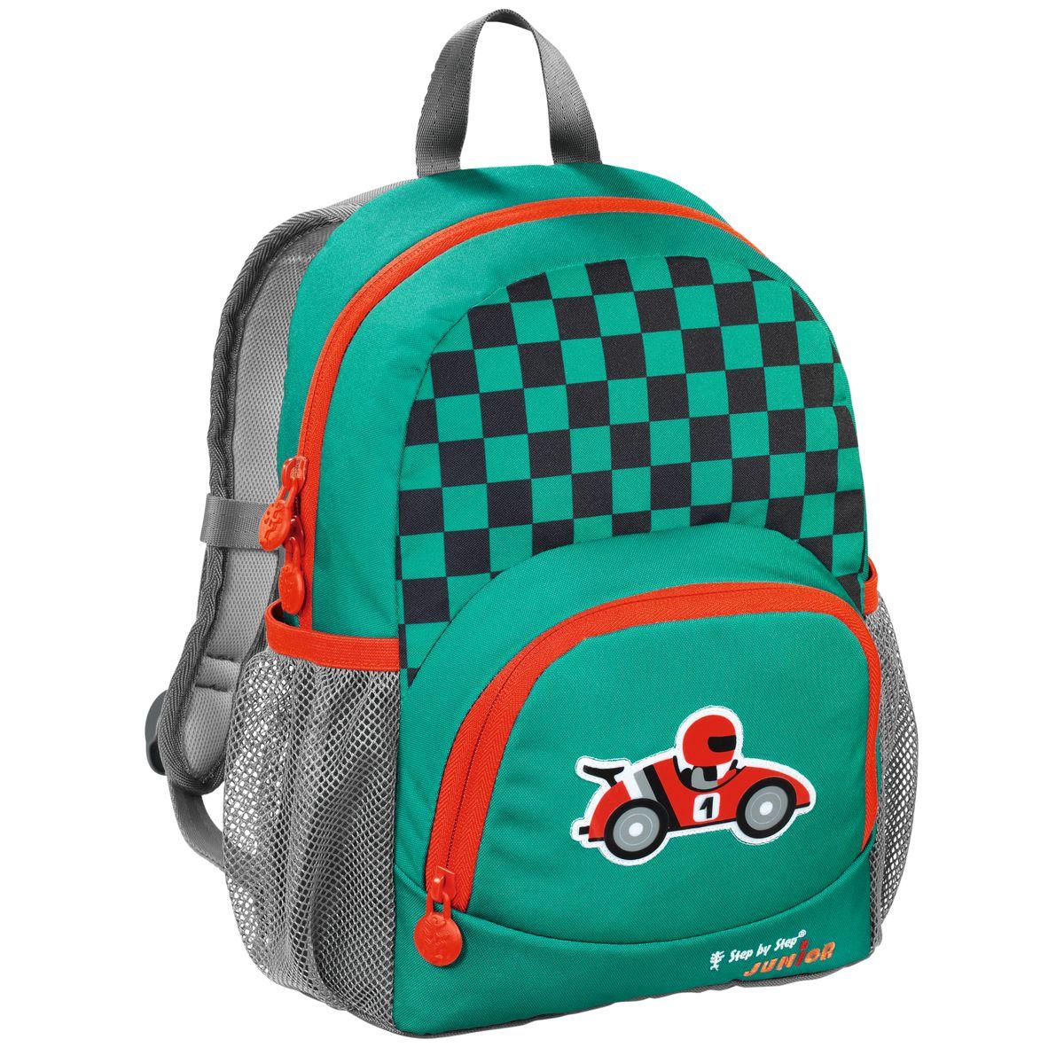 Hama Рюкзак детский Step By Step Junior Dressy Little Racer11438363Рюкзак детский Step By Step Junior Dressy little racer зеленый/серый