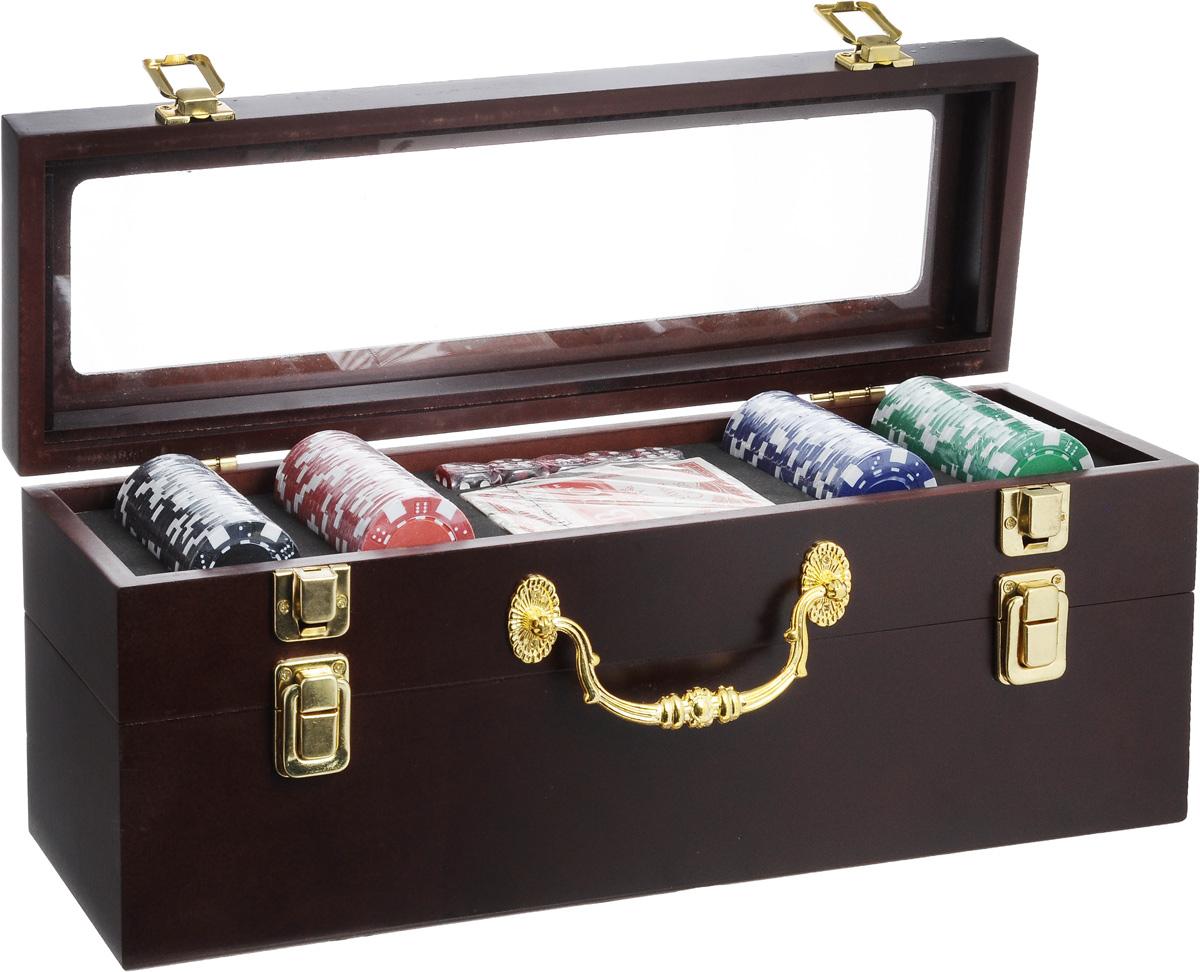 Набор подарочный Феникс-Презент. 40684RG-D31SНабор подарочный Феникс-Презент включает колоду игральных карт, 5 игральных костей и 100 фишек разных цветов. Предметы набора хранятся в элегантной деревянной шкатулке с ручкой для переноски. Шкатулка имеет два отделения: верхнее предназначено для хранения аксессуаров для покера, а нижнее - для бутылки вина. Отделения закрываются на замки-защелки. Такой набор станет приятным и практичным подарком к любому празднику. Идеальный подарок для всех ценителей покера. Размер колоды: 9 х 6,5 х 2 см. Размер игральной кости: 1,7 х 1,7 х 1,7 см. Диаметр фишки: 4 см. Максимальная длина бутылки вина: 36 см. Размер шкатулки: 37,8 х 11,8 х 14,5 см.