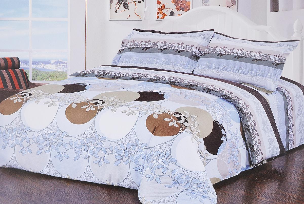 Комплект белья Soft Line, 1,5-спальный, наволочки 50х70, цвет: голубой, серый, коричневыйSC-FD421004Комплект белья Soft Line, выполненный из сатина (100% хлопка), состоит из пододеяльника, простыни и двух наволочек. Сатин - прочная, легкая и мягкая на ощупь ткань. Не линяет при стирке и легко гладится. Эта ткань традиционно считается одной из лучших для изготовления постельного белья.Приобретая комплект постельного белья Soft Line, вы можете быть уверенны в том, что покупка доставит вам и вашим близким удовольствие и подарит максимальный комфорт.