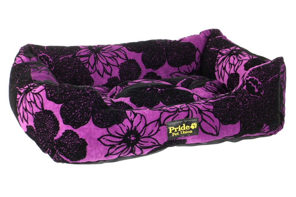 Лежак для животных Pride Флора, цвет: фиолетовый, черный, 50 х 41 х 13 см лежак для животных pride акварель 52 х 41 х 10 см
