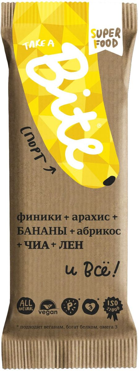 Take A Bite Арахис-Банан Спорт батончик фруктово-ореховый, 45 г0120710Немного фиников, бананов и много арахиса. Получите протеиновый заряд и будьте в игре!